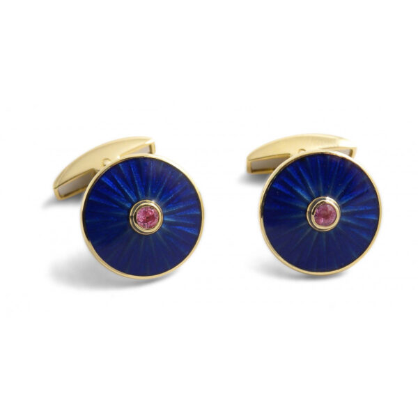 18ct Gold Round Cufflinks with Ruby Centre