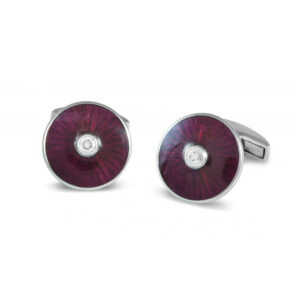 18ct White Gold Cufflinks with Pink Enamel and Diamond Centre