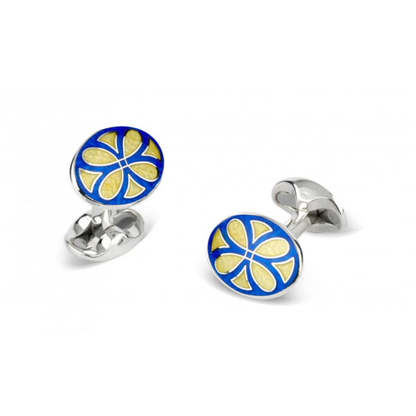 Sterling Silver Royal Blue & Bright Yellow Fancy Pattern Enamel Cufflinks
