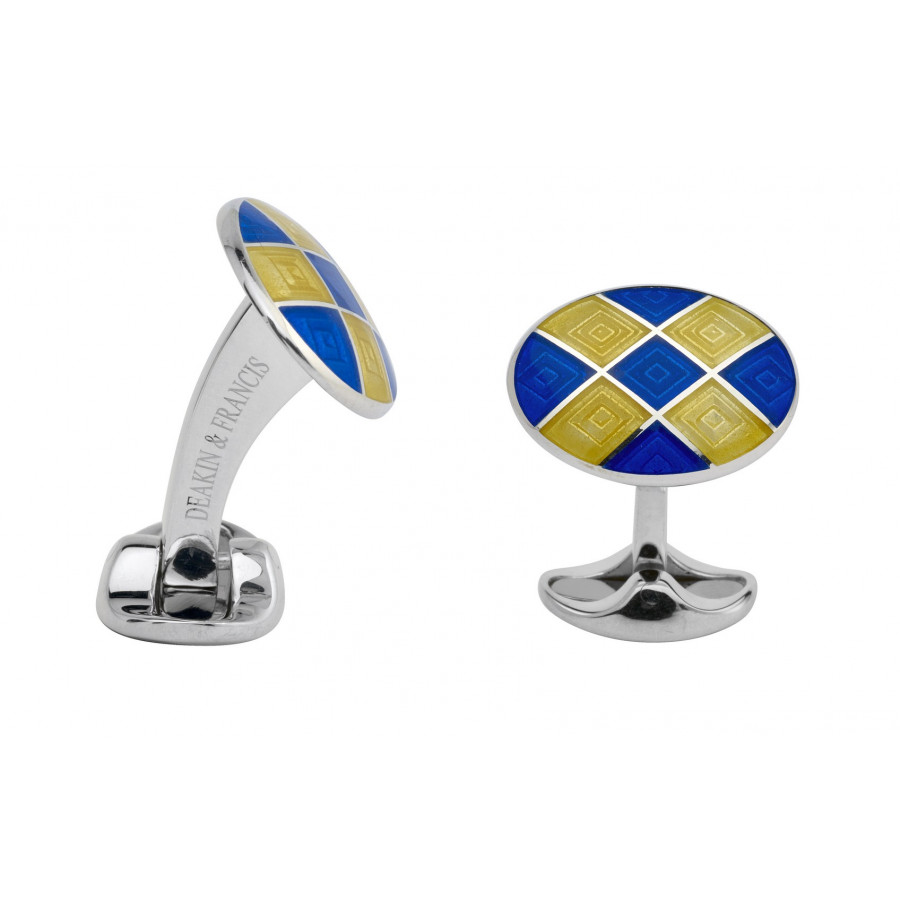 Sterling Silver Royal Blue & Bright Yellow Patterened Enamel Cufflinks