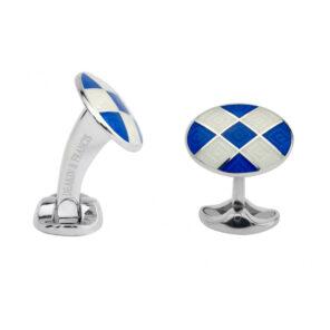 Sterling Silver Royal Blue & Clear Patterned Enamel Cufflinks
