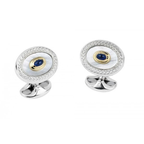 Sterling Silver Wreath Cufflinks with 18ct Gold, Mother-of-Pearl & Sapphire