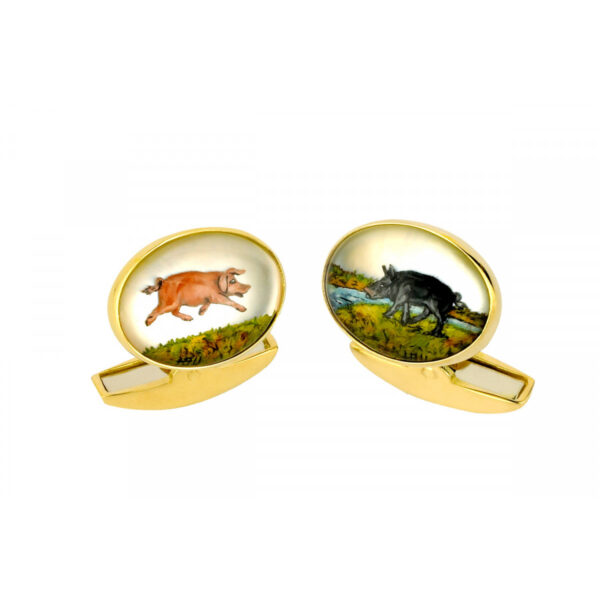18ct Gold Hand-Painted Crystal Pig Cufflinks