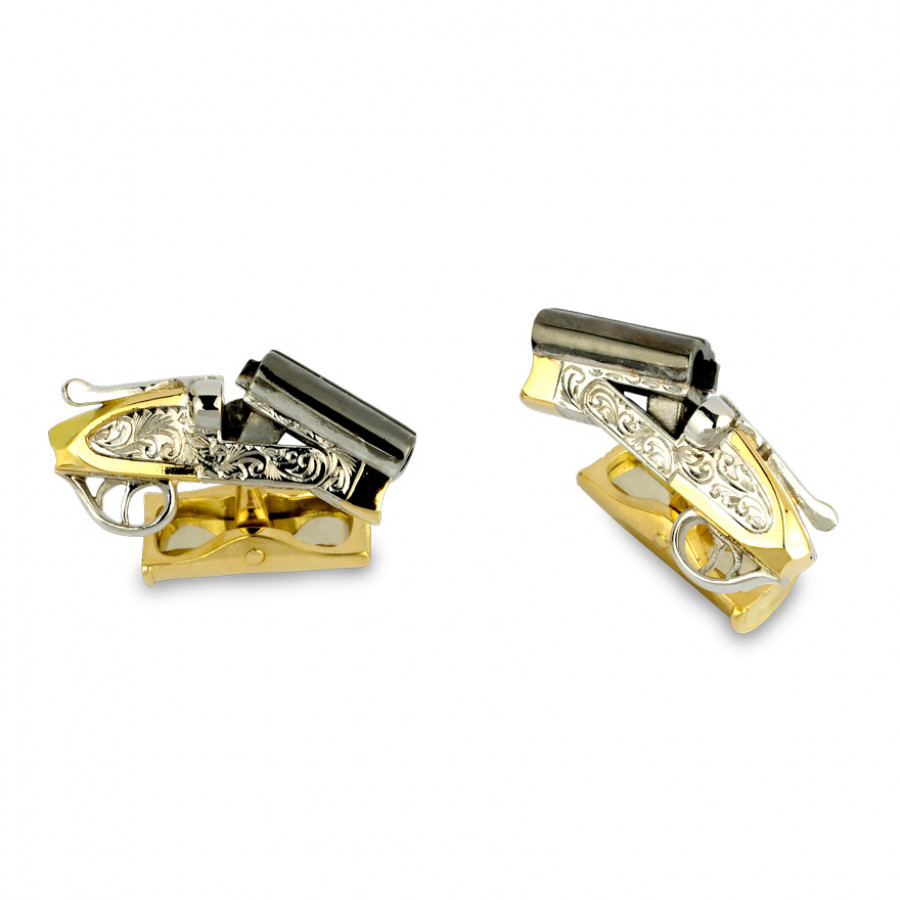 18ct Gold Shotgun Cufflinks with Cocked Barrel and Cartridge Fitting
