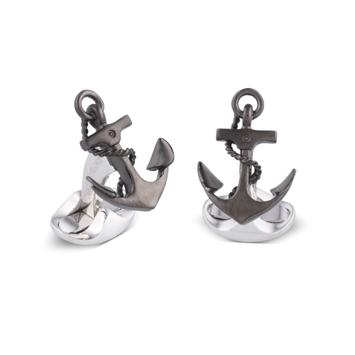 Sterling Silver Oxidised Anchor Cufflinks