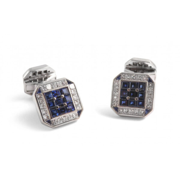 18ct White Gold Square Cufflinks with Diamonds and Sapphires