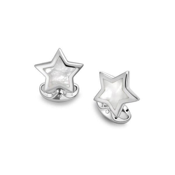 Sterling Silver Star Cufflinks With Mother-of-Pearl Inlay