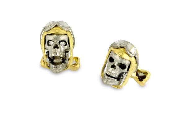 18ct Gold Aviator Pilot Skull Cufflinks