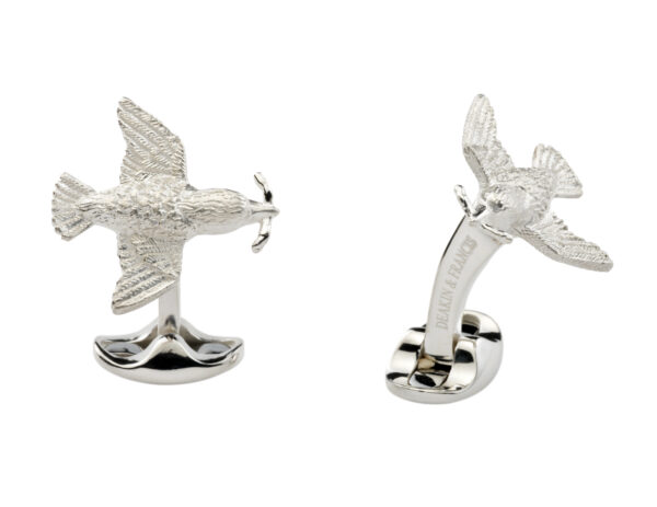 Sterling Silver Bird and Worm Cufflinks