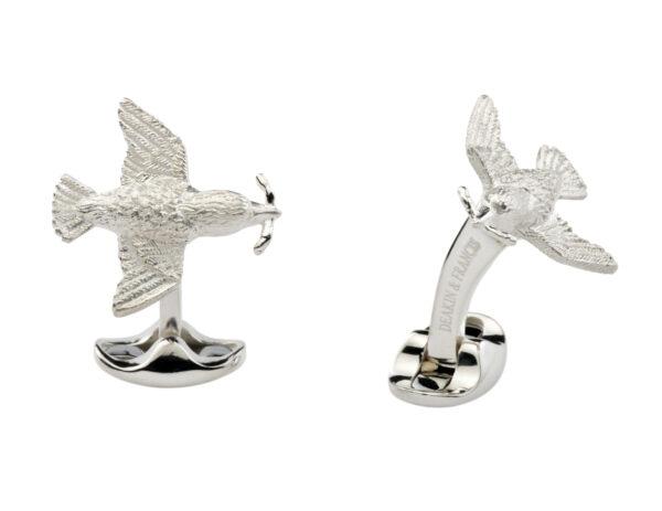 Sterling Silver Bird and Worm Cufflinks