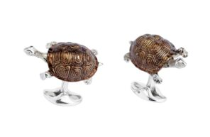 Sterling Silver Brown Enamel Tortoise Cufflinks