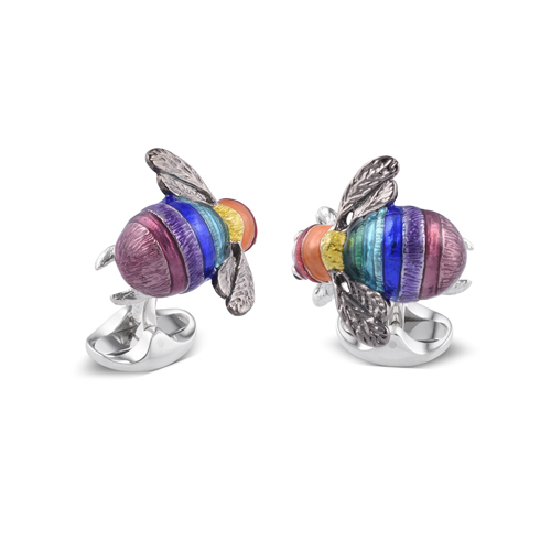 Limited Edition Sterling Silver Rainbow Bumble Bee Cufflinks