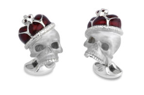 Sterling Silver Skull Cufflinks With Red Enamel Crown