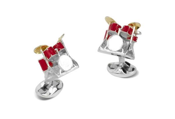Sterling Silver Red Enamel Drum Kit Cufflinks