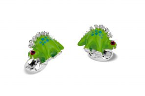 Sterling Silver Green and Blue Enamel Dinosaur Cufflinks