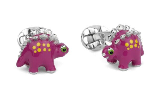 Sterling Silver Pink Dinosaur Cufflinks