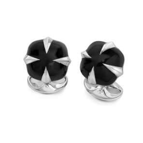 Sterling Silver Claw Cufflinks with Black Enamel Centre
