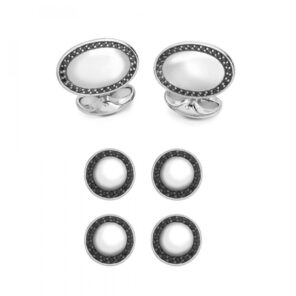 Sterling Silver Oval Dress Stud Set - Black Spinel