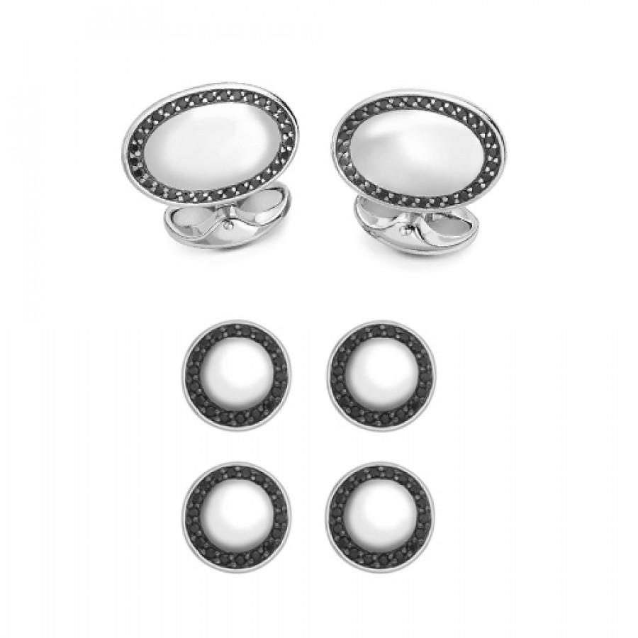Sterling Silver Oval Dress Stud Set - Black Spinel