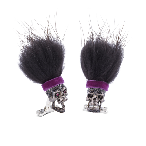 Sterling Silver Hairy Savage Black Spinel Skull With Purple Headband
