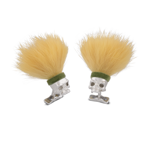 Sterling Silver Savage Skull Cufflinks With Yellow Hair and Green Headband