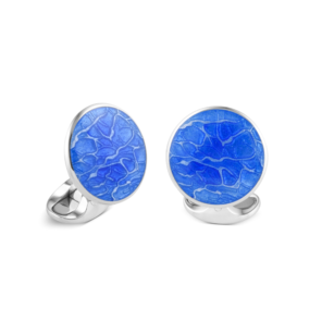 Sterling Silver Sky Blue 'Pool' Cufflinks
