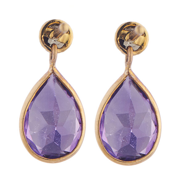 18ct Yellow Gold Amethyst and Diamond Drop Earrings