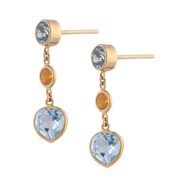 18ct Yellow Gold Blue Topaz And Fire Opal Drop Earrings