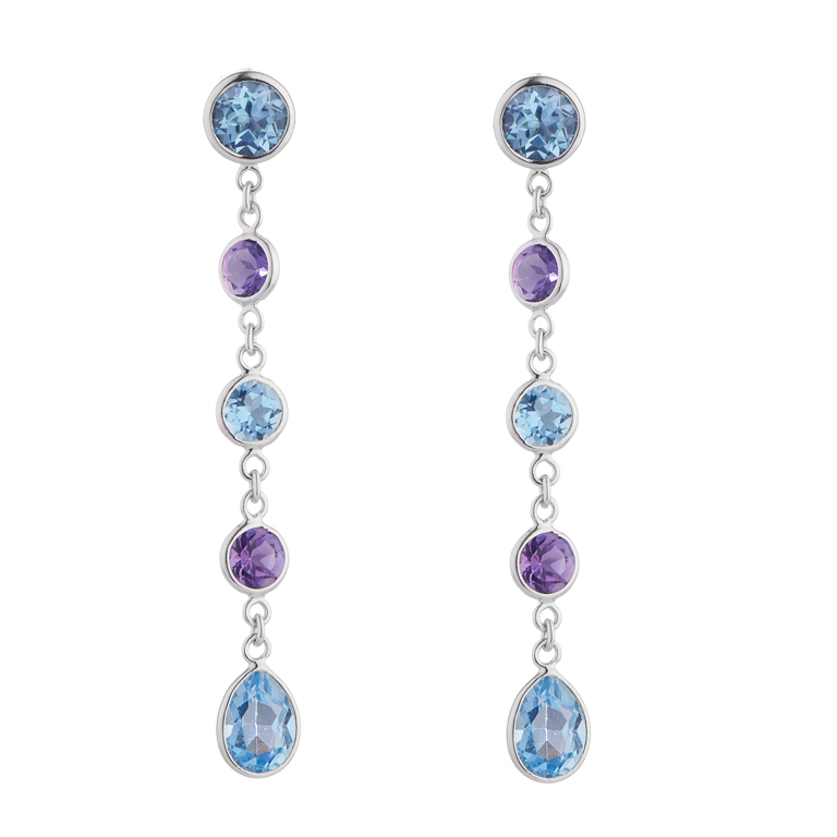 18ct White Gold Blue Topaz and Amethyst Drop Earrings