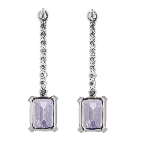 18ct White Gold Diamond and Pink Kunzite Drop Earrings