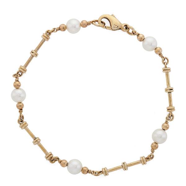 9ct Gold Cultured Pearl Dumbbell Link Bracelet