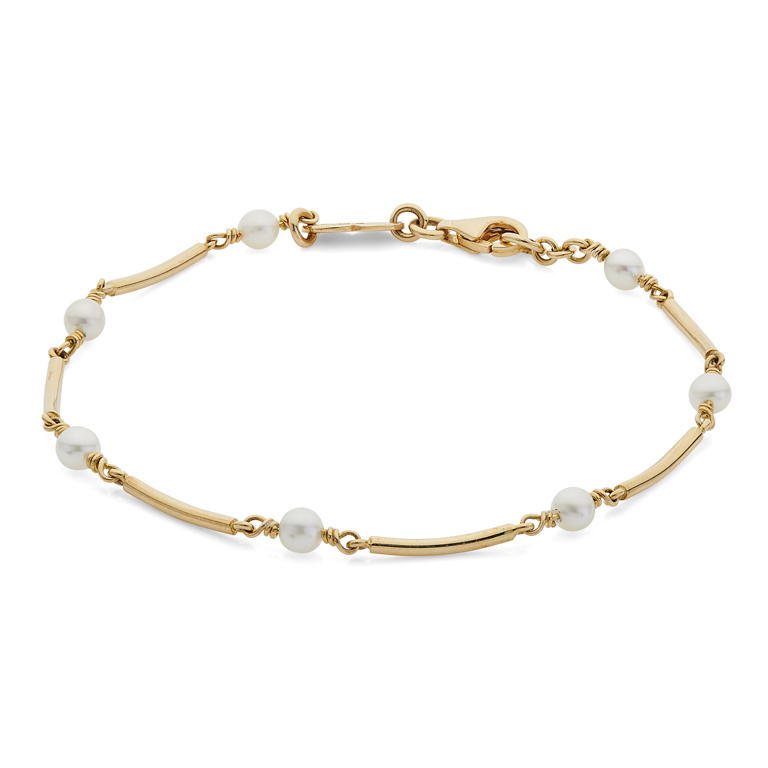 18ct Yellow Gold Cultured Pearl Bracelet