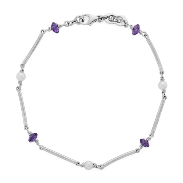 18ct White Gold Amethyst Bead and Pearl Bracelet