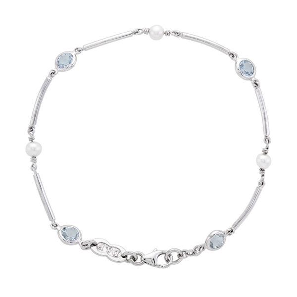 18ct White Gold Cultured Pearl and Aquamarine Bracelet