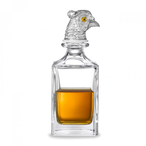 Silver pheasant head crystal decanter