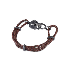 Brown Leather Adjustable Bracelet With Skull Clasp In Matte Black Finish