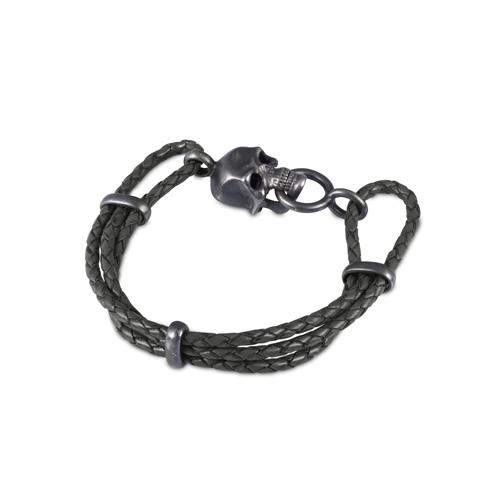 Black Leather Adjustable Bracelet With Skull Clasp In Matte Black Finish