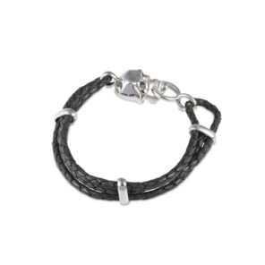 Black Leather Adjustable Bracelet With Skull Clasp In Silver Finish