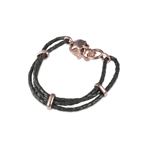 Black Leather Adjustable Bracelet With Skull Clasp In Rose Gold Finish