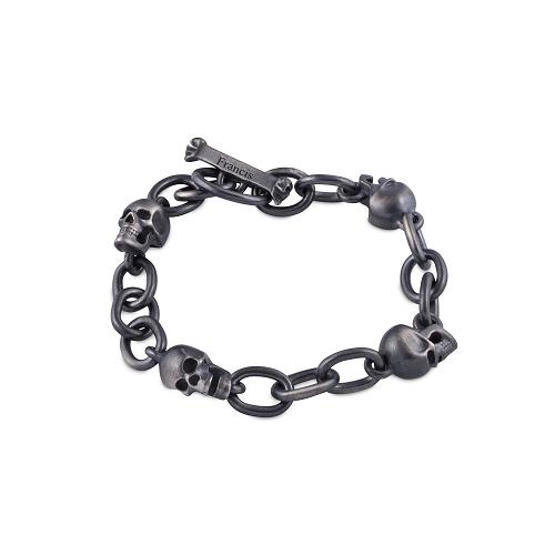 Sterling Silver Oxidised Black Skull Bracelet
