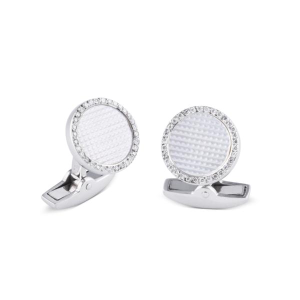 18ct White Gold Hobnail Pattern Cufflinks With Diamonds