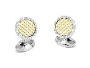 Sterling Silver and 18ct Gold Hobnail Cufflinks With Diamond Boarder