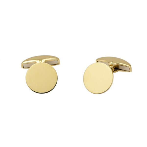 18ct Yellow Gold Plain Round Cufflinks