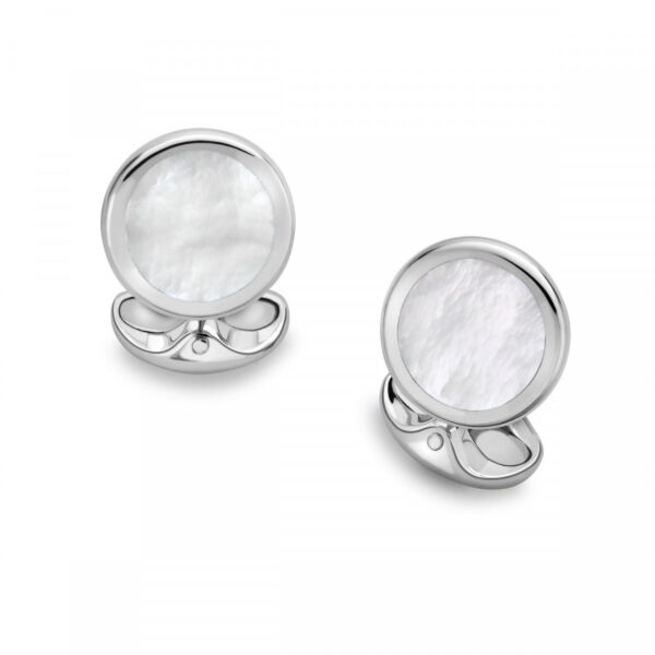 Sterling Silver Round Cufflinks with Mother-of-Pearl
