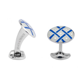 Sterling Silver Royal Blue & Clear Fancy Pattern Enamel Cufflinks
