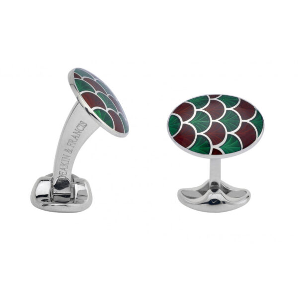 Sterling Silver Bright Green & Maroon Red Enamel Cufflinks