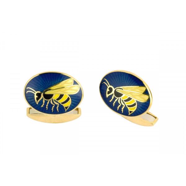 18ct Yellow Gold Vitreous Enamel Wasp Cufflinks