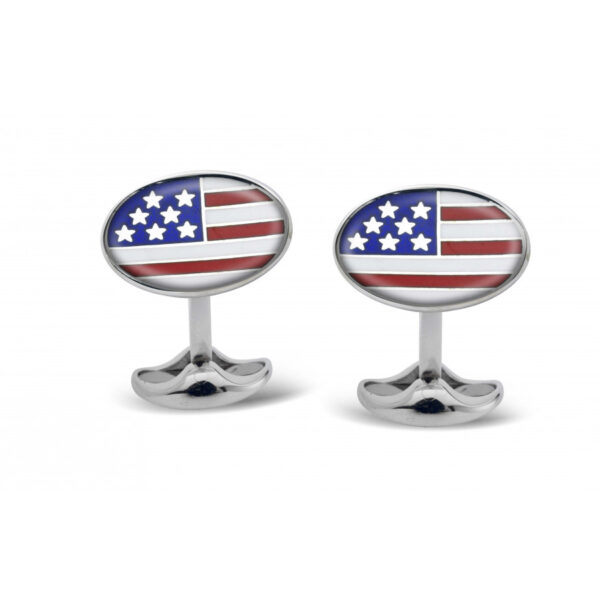 Sterling Silver USA Enamel Cufflinks