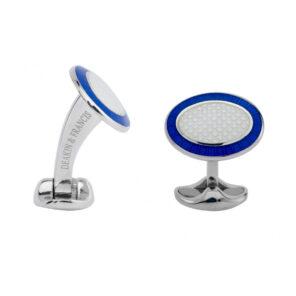 Sterling Silver Royal Blue & Clear Enamel Cufflinks
