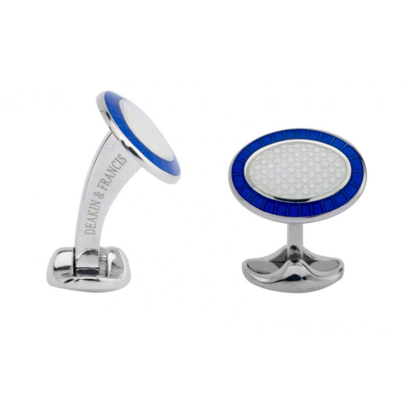 Sterling Silver Royal Blue & Clear Enamel Cufflinks